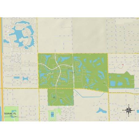 Political Map of Doral, FL Print Wall Art