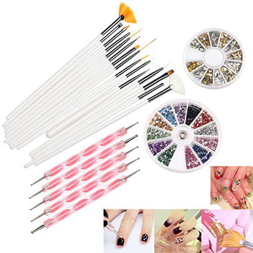 Pixnor RUIMIO 5 Dotting Pens, 15 Nail Art Brush, 12 Color...