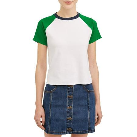 - Juniors' Contrast Short Sleeve Ringer T-Shirt