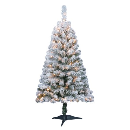 Holiday Time Pre-Lit 4' Greenfield Flocked Pine Green Artificial Christmas Tree, Clear-Lights ()