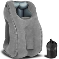 BETUS Inflatable Travel Pillow - ALL IN ONE Portable Head Neck Rest Positioners - Design for Traveling, Camping, Office Napping, Airplanes, Buses, Trains - Compact Carry Bag Included (Gray)