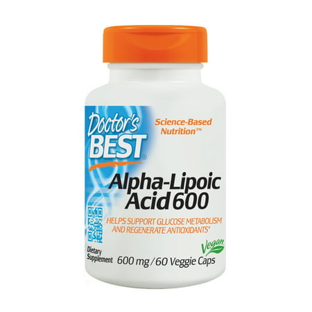 Doctor's Best Alpha-Lipoic Acid, Non-GMO, Gluten Free, Vegan, Soy Free, Promotes Healthy Blood Sugar, 600 mg, 60 Veggie -