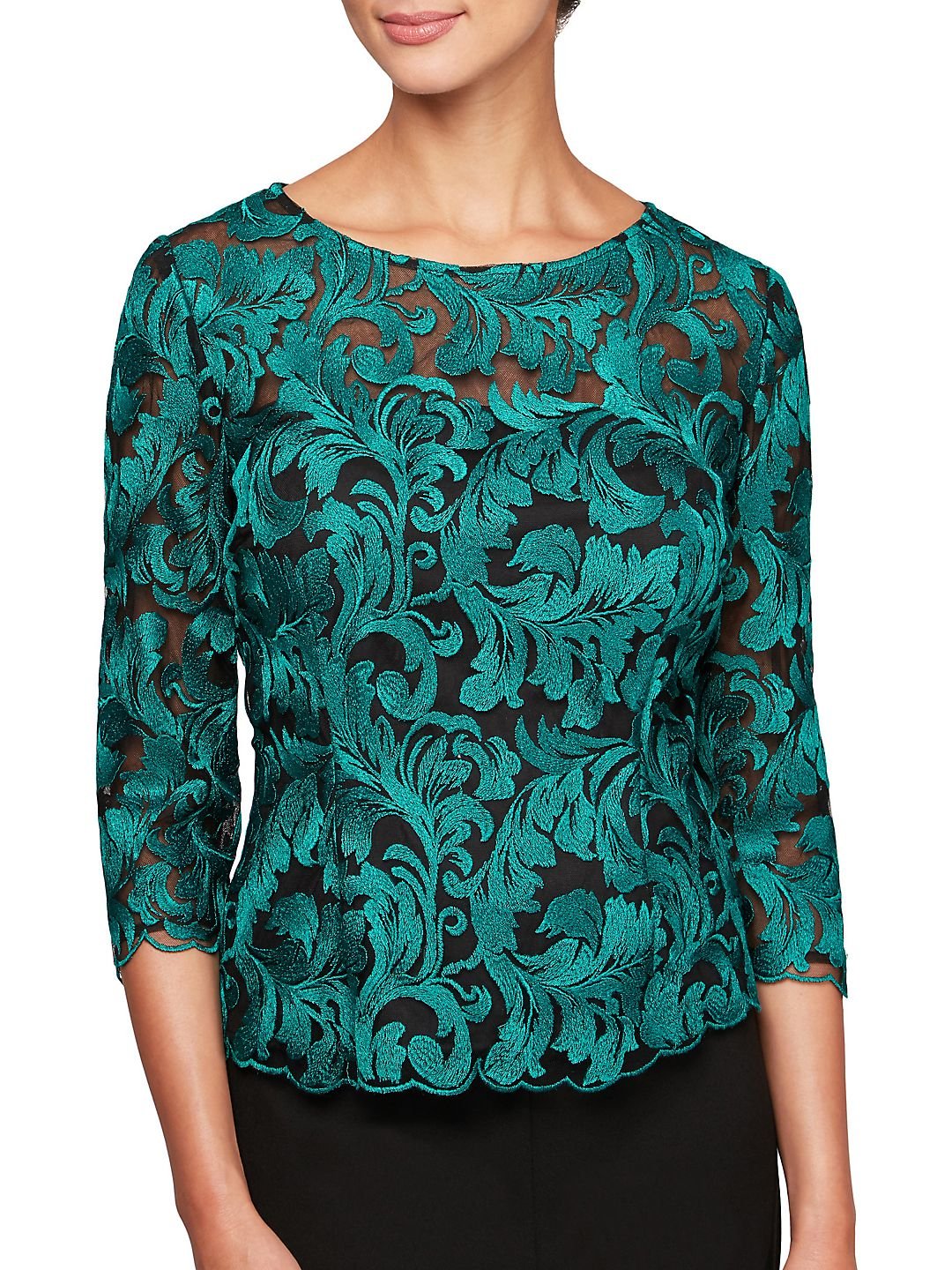Embroidered Illusion Top