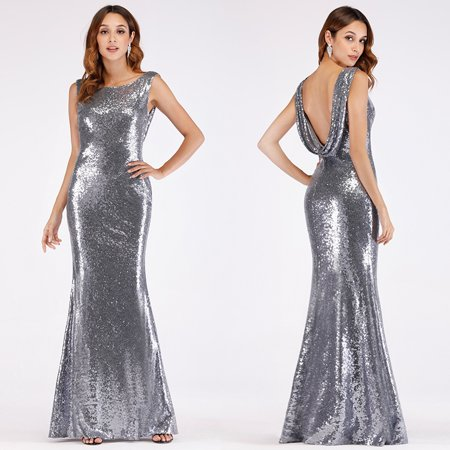 Ever-Pretty Women's Sexy Mermaid Sequins Long Formal Evening Ball Gown Cocktail Party Dresses for Women 07551 US 4