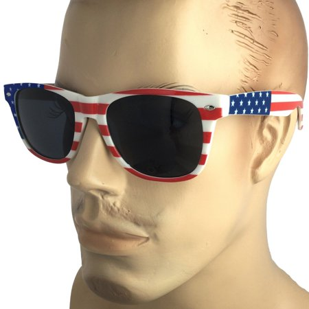 Mens Large Size AMERICAN FLAG USA Print SUNGLASSES LENS STARS STRIPES (Sunglasses With Printed Lenses)