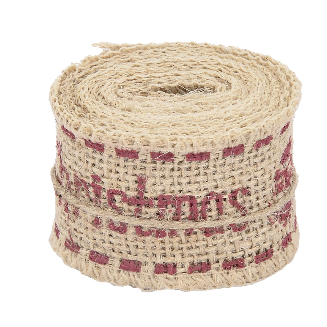 Christmas Burlap Letter Printed DIY Box Wrapping Ornament Ribbon Roll 2.2 Yards