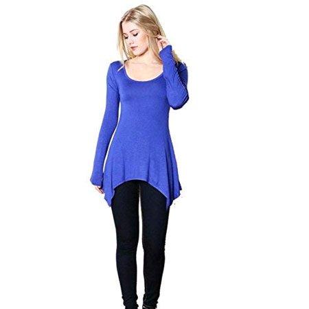 Fashion Secrets Women`s Shark Bite Hem, Scoop Round Neck Long Sleeve Top T Shirt (Royal Blue, Large) ()