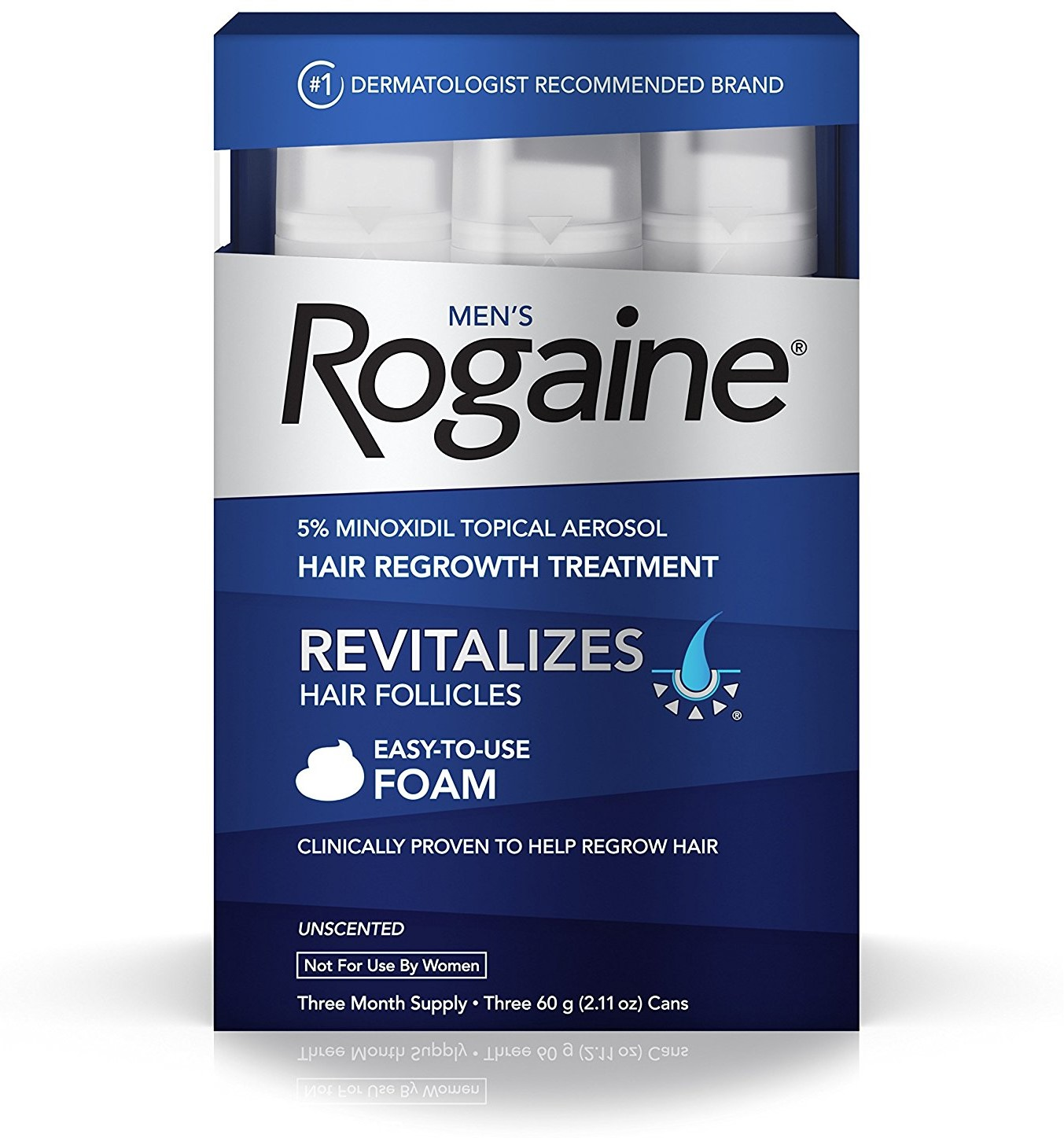 4 Pack - Rogaine Men's Easy-To-Use Foam 6.33 oz, 3 ea