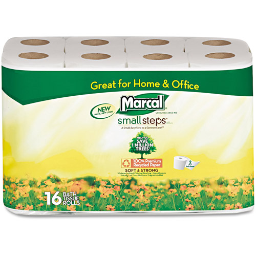 Marcal Small Steps 100 Percent  Premium Recycled Two-Ply Toilet Tissue, 16pk