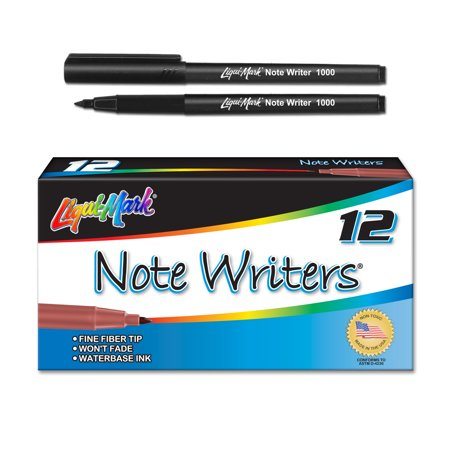 Note Writer - Waterbase Ink Fiber Point Pocket Markers - Black Case Pack of 36