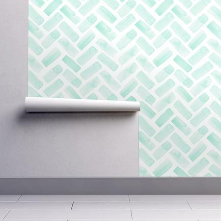 Aqua Petal (Peel-and-Stick Removable Wallpaper Herringbone Modern Decor Aqua Herringbone)