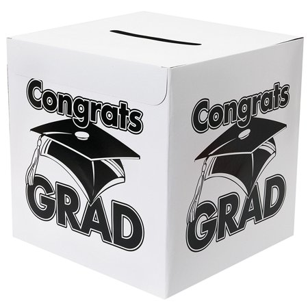 White Congrats Grad Money Gift Card Box Graduation Party, Box is made of cardboard 12