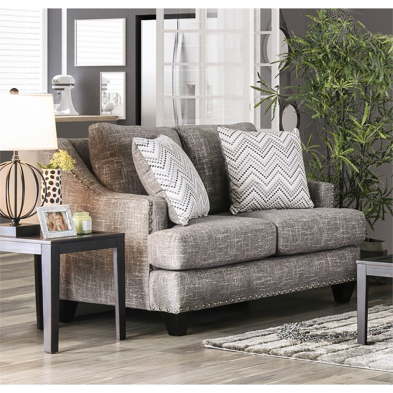 Furniture of America Nora Contemporary Loveseat in Gray
