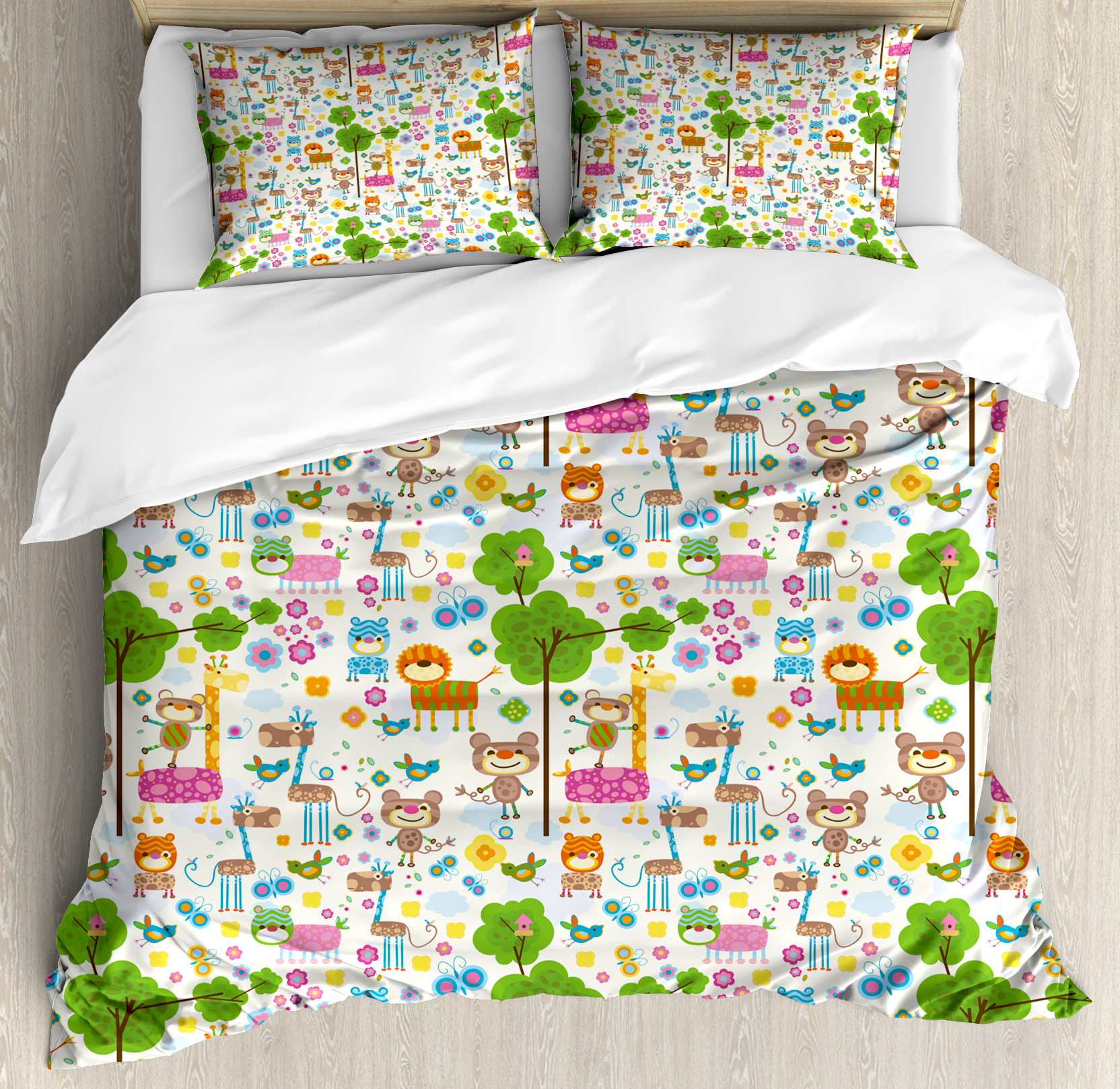 Kids Queen Size Duvet Cover Set, Happy Friendly Jungle Animals Giraffe Monkey and Butterfly Trees Flowers Zoo Nature, Decorative 3 Piece Bedding Set with 2 Pillow Shams, Multicolor, by Ambesonne