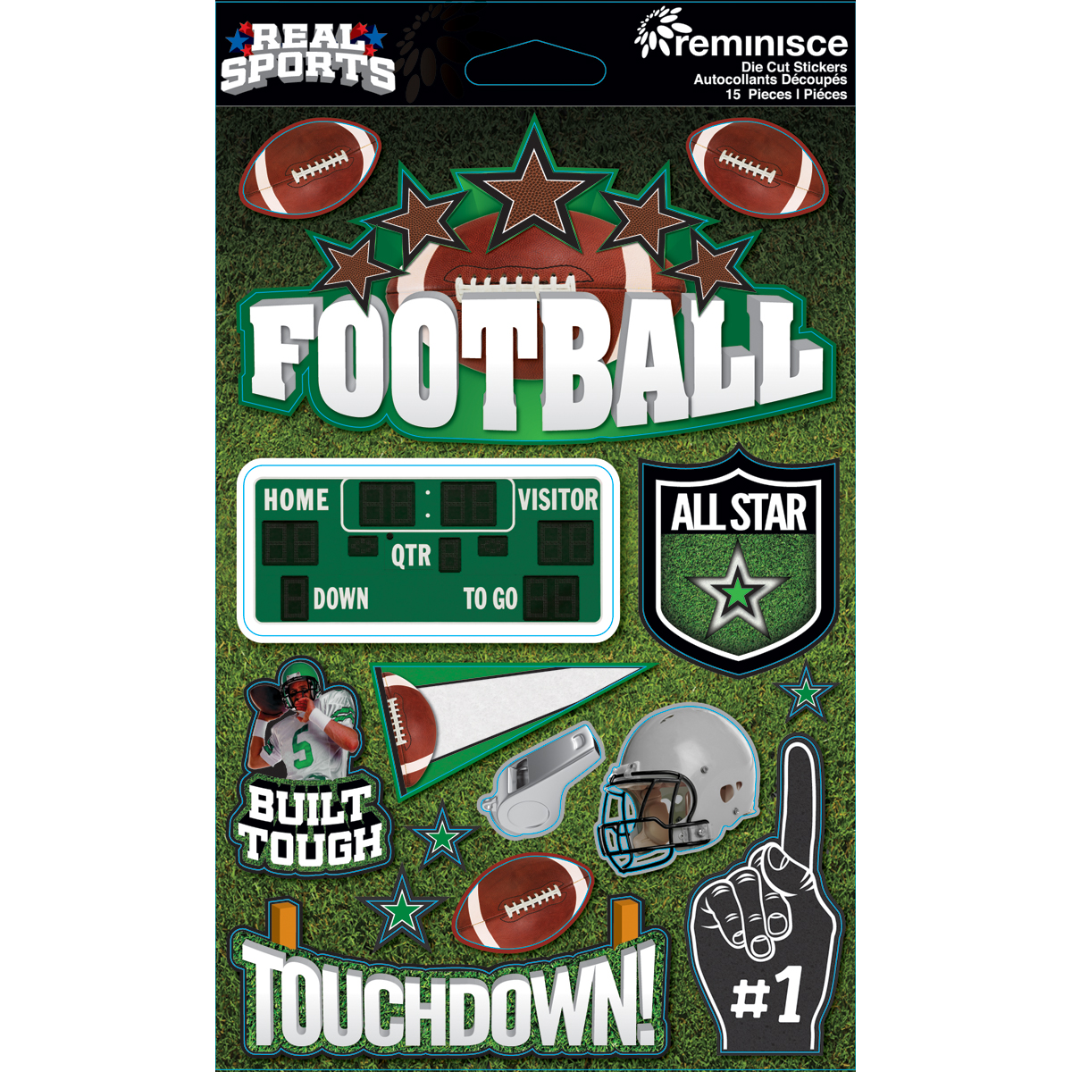 Real Sports Dimensional Cardstock Stickers-Football - image 1 of 1