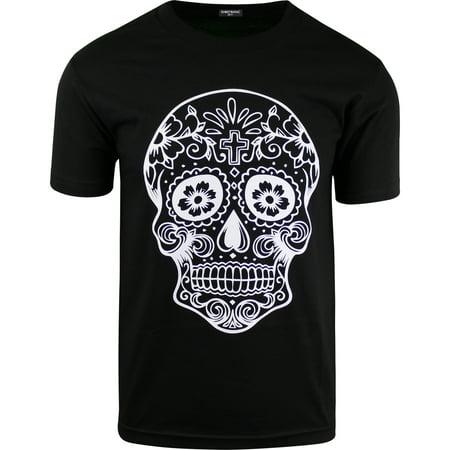 Sugar Skull Men Makeup (ShirtBANC Mens Sugar Skull Shirts Rockabilly Day of the Dead Tees Cinco de)