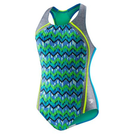 cb531fab7e508 Speedo Girls Digi Zig Zag Heather Sport Splice One Piece Swimsuit, Blue,  Size 16 - Walmart.com
