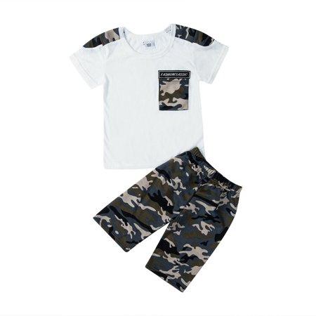 2PCS Toddler Kids Baby Boy Summer Clothes T-shirt Tops+Camo Pants Shorts Outfits thumbnail