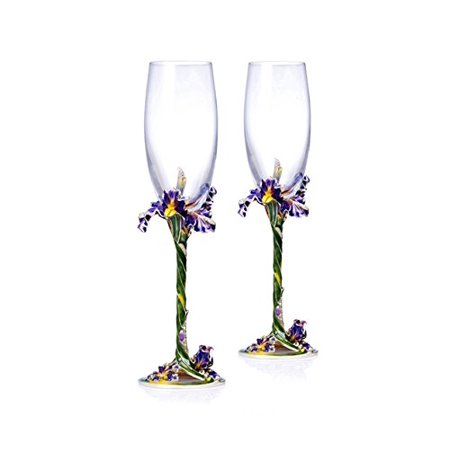 SET of 2 RORO Luxury Enameled Champagne Flutes, Bohemian Crystal + (Glass Enameling)
