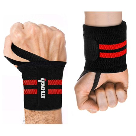 "IPOW Wrist Wraps Straps Tendonitis Arthritis Pain Relief Wrist Support Sport Protector Men Women 18.5"" Adjustable Compression Band with Thumb Loops for Crossfit, Powerlifting, Workout, 2 Pack, Red"