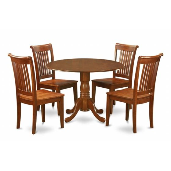 5pc Round Pedestal Drop Leaf Kitchen Table 4 Chairs: East West Furniture DLPO5-SBR-W 5PC Kitchen Round Table