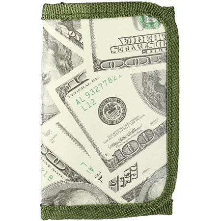 Size one size Kid's One Hundred Dollar Bill Print Trifold Wallet, Green](Novelty Wallets)
