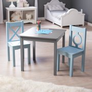 Lipper Hugs and Kisses Table and 2 Chair Set - Gray & Blue