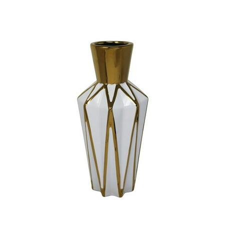 Benzara BM190337 Decorative Ceramic Vase with Geometric Bud Design - White & Gold - image 1 of 1