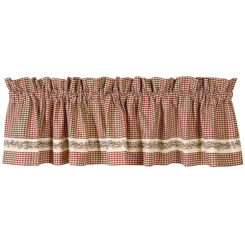 Burgundy Berry Vine Country Valance