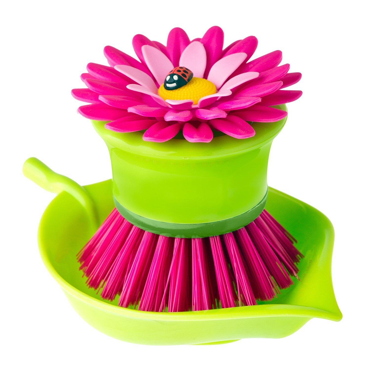 Vigar Flower Power Dish Washing Palm Brush with Tray