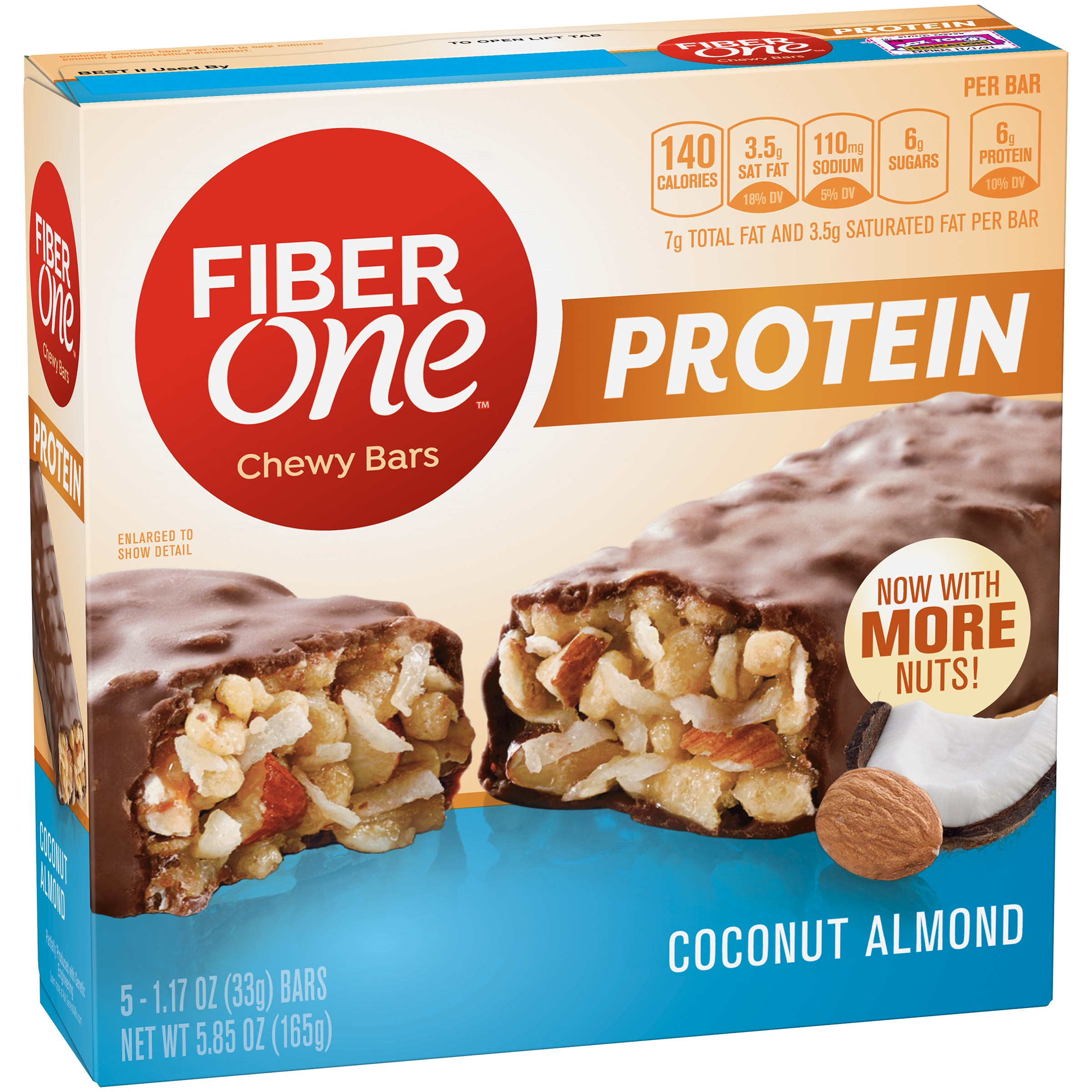 Fiber One Protein Chewy Bar Coconut Almond 5 - 1.17 oz Bars