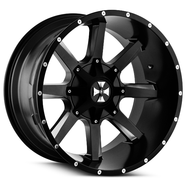 """22"""" Inch Cali Offroad 9100 Busted 22x12 8x180 -44mm Black/Milled Wheel Rim"""
