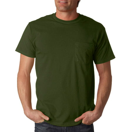15dd1445 Fruit of the Loom - 3930P Cotton Pocket T-Shirt -Military Green-X-Large -  Walmart.com
