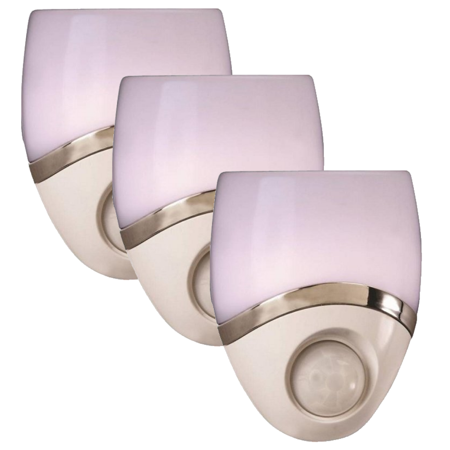 - Amerelle 73092CC Geometric Motion Activated LED Night Light, White/Nickel (3 Pack)
