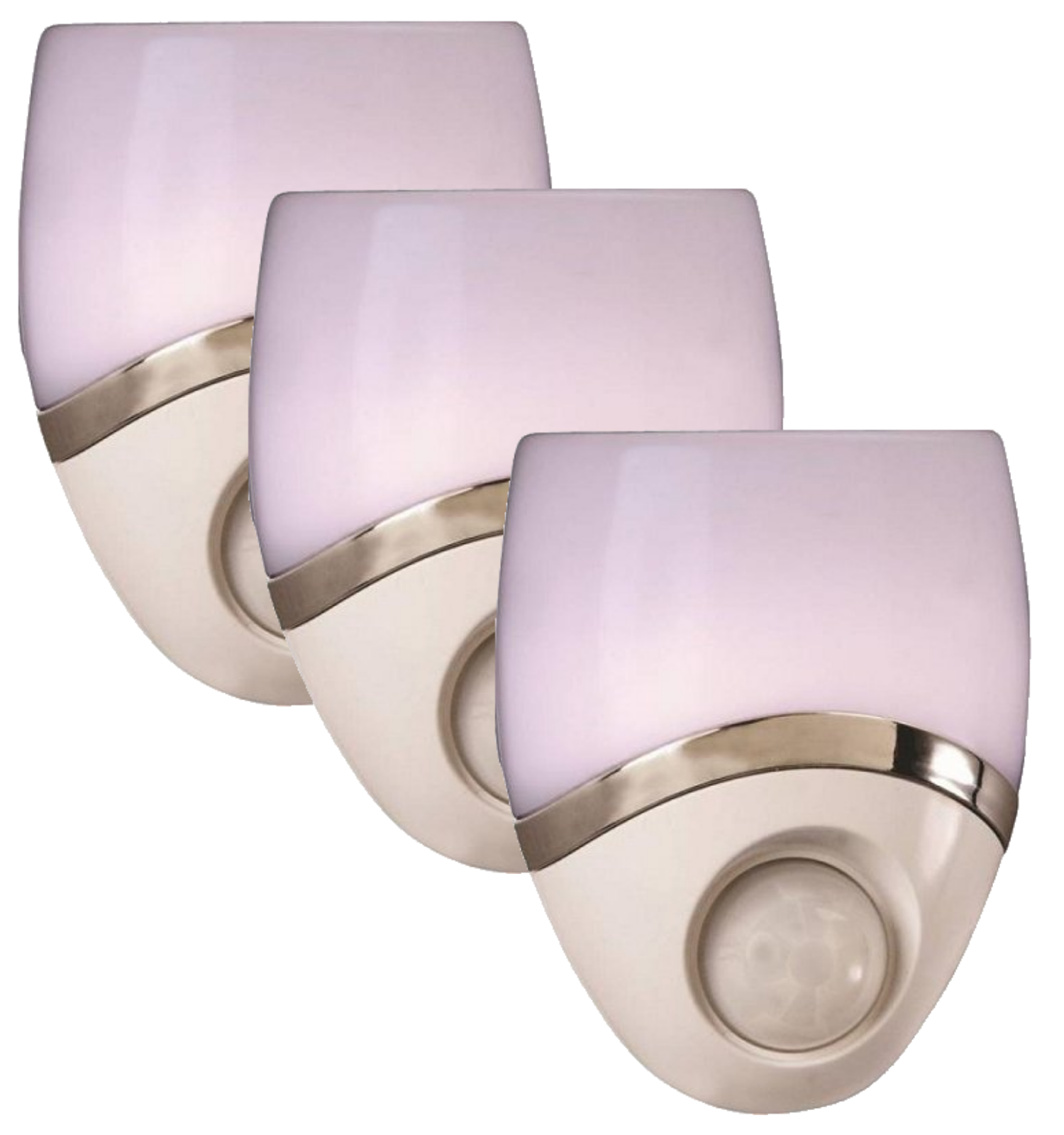 Amerelle 73092CC Geometric Motion Activated LED Night Light, White/Nickel (3 Pack)