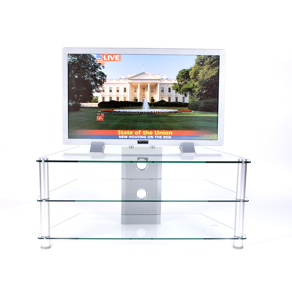 RTA Home Office 42 Inch Plasma TV Stand Tempered Glass Wire Management