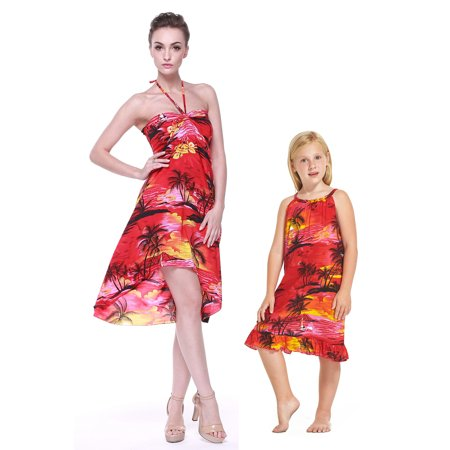 Matching Hawaiian Luau Mother Daughter Butterfly Tunic Dress in Sunset Red XS-8
