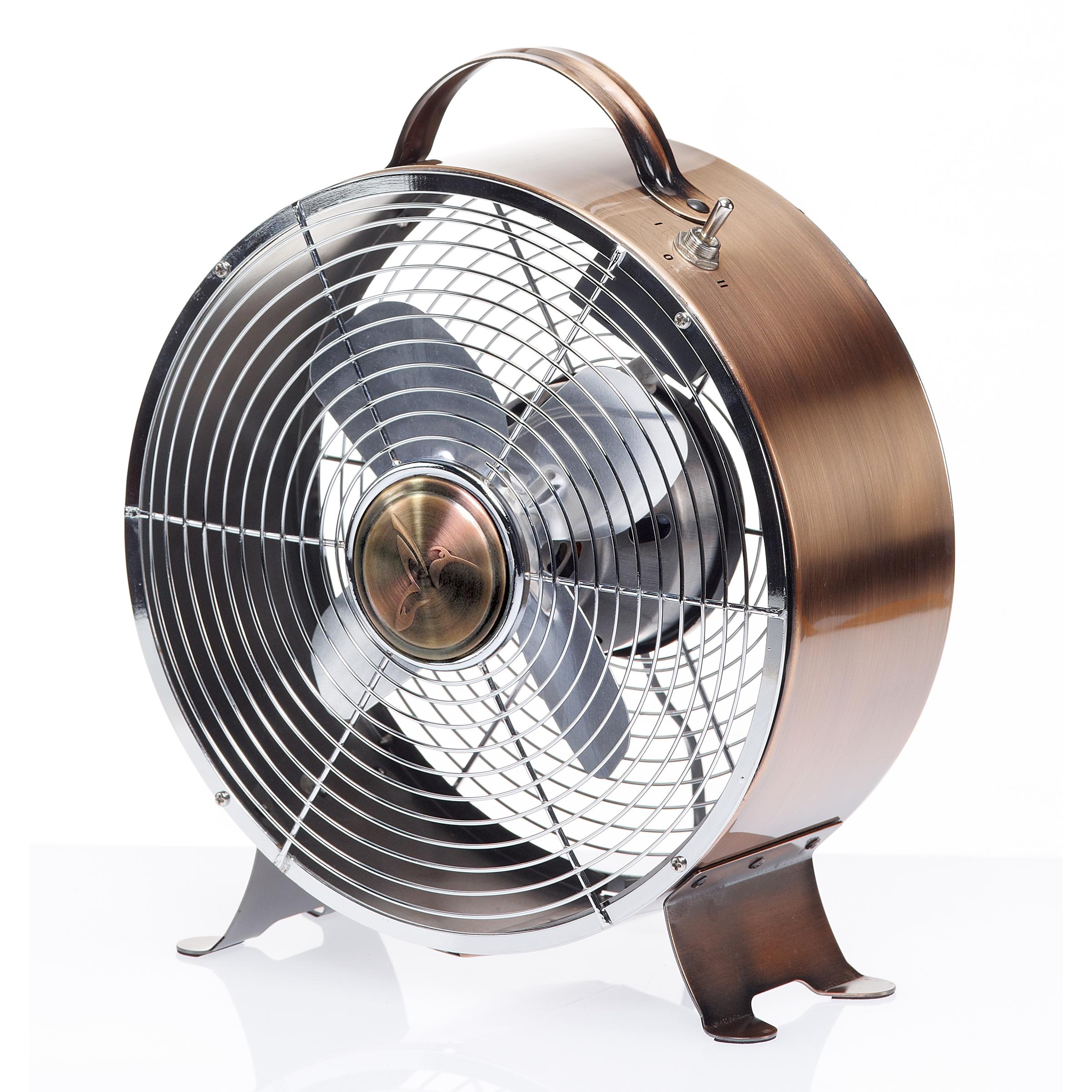 DecoBREEZE Retro Table Fan Air Circulator Fan, Brushed Copper