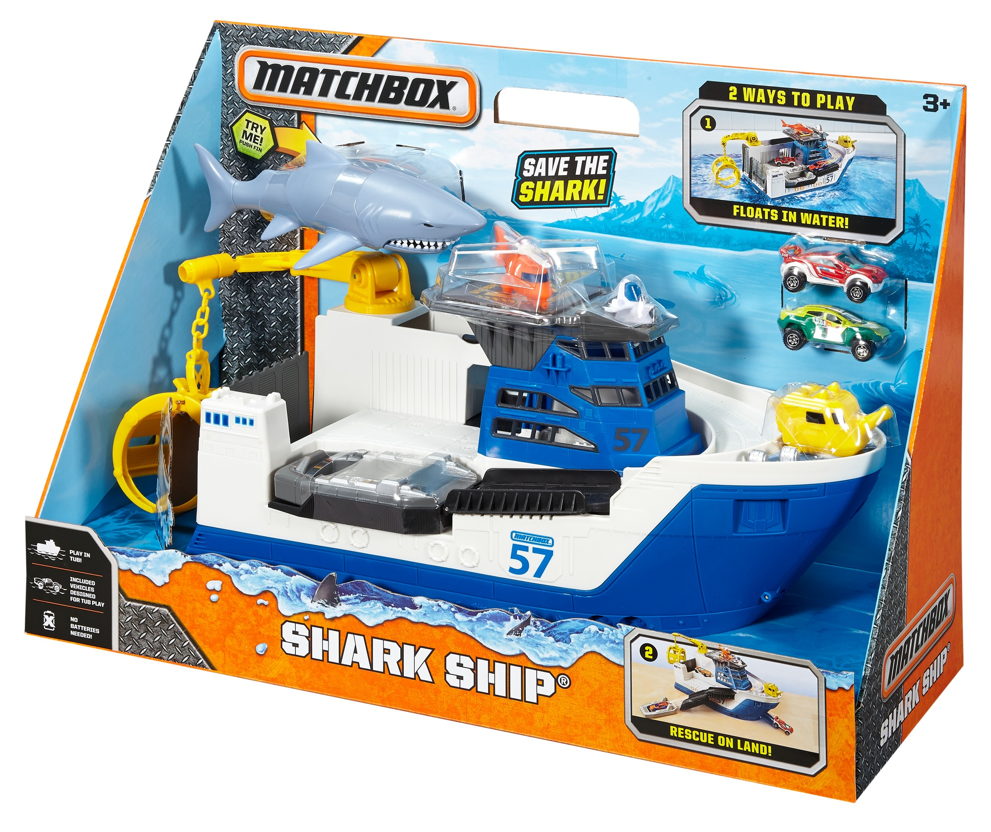 Shark Ship Toy : Matchbox shark ship mission marine rescue mega rig floats
