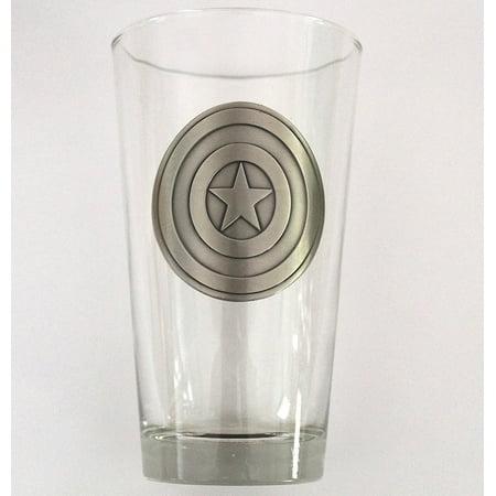 Pint Glass - Marvel - Captain America Shield Med 16oz New - Captain America Glasses
