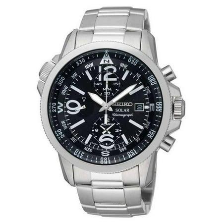 Men's Solar 41mm Steel Bracelet & Case Quartz Black Dial Analog Watch SSC075P1