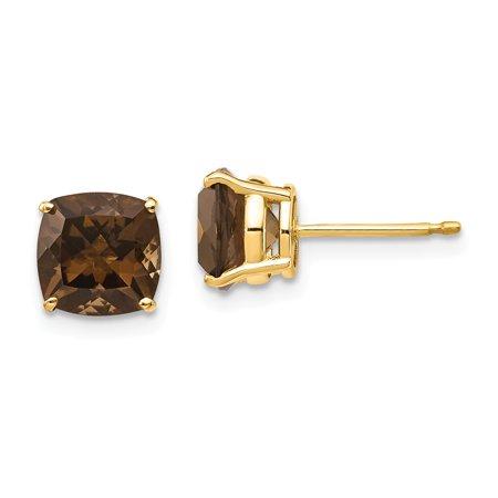 14k Yellow Gold 7mm Cushion Smoky Quartz Earrings 8x8 mm