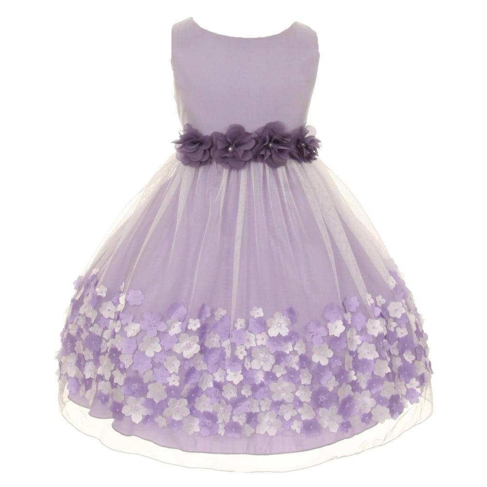 Kids Dream Little Girls Lavender Taffeta Flowers Sleeveless Easter Dress T