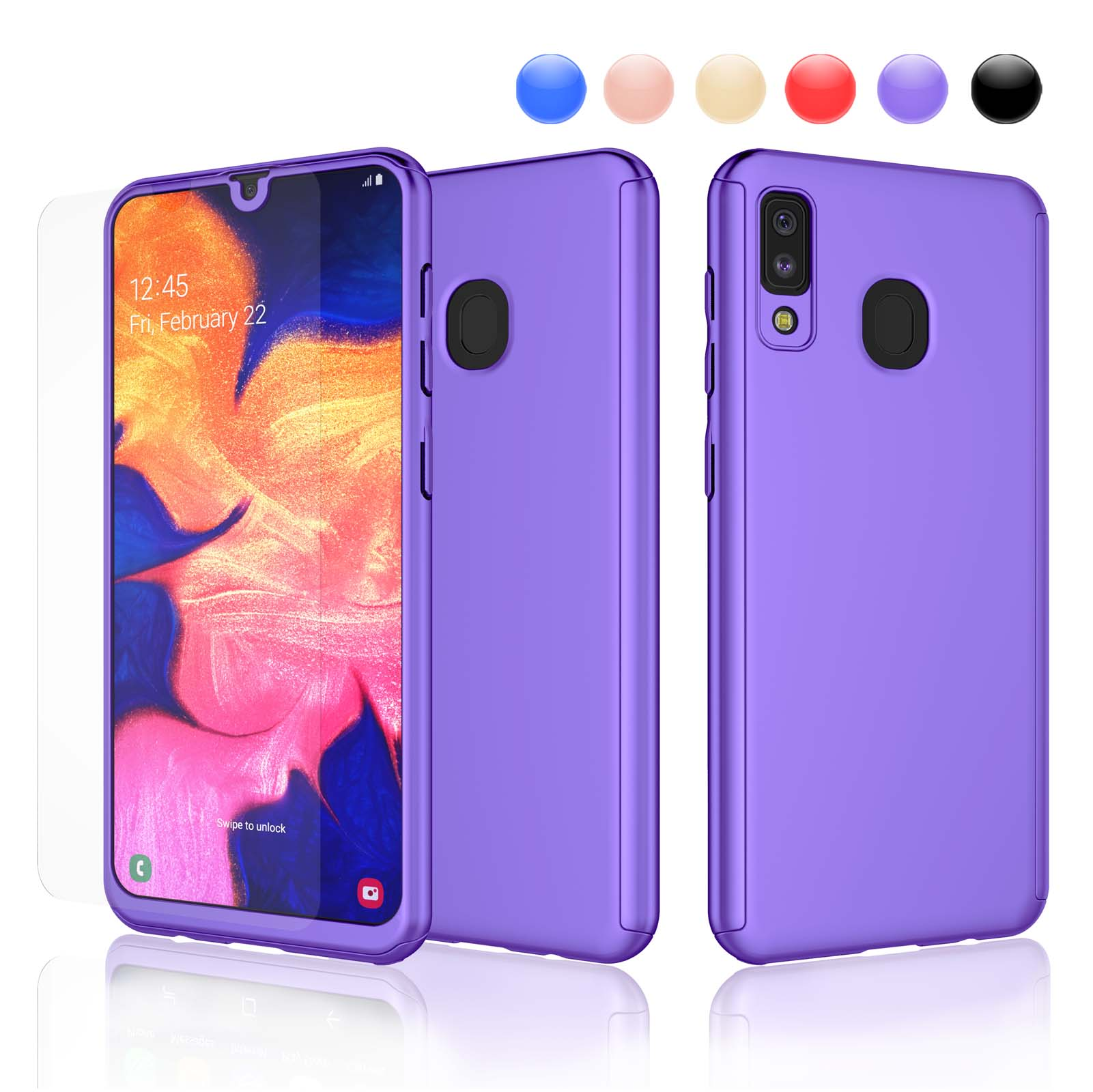 Ostop Phone Case for Samsung Galaxy A20//A30,Soft Clear TPU Silicone Case Ultra Thin Slim Lightweight Transparent Cover 360 Degree Full Body Protection for Samsung Galaxy A20//A30,Black