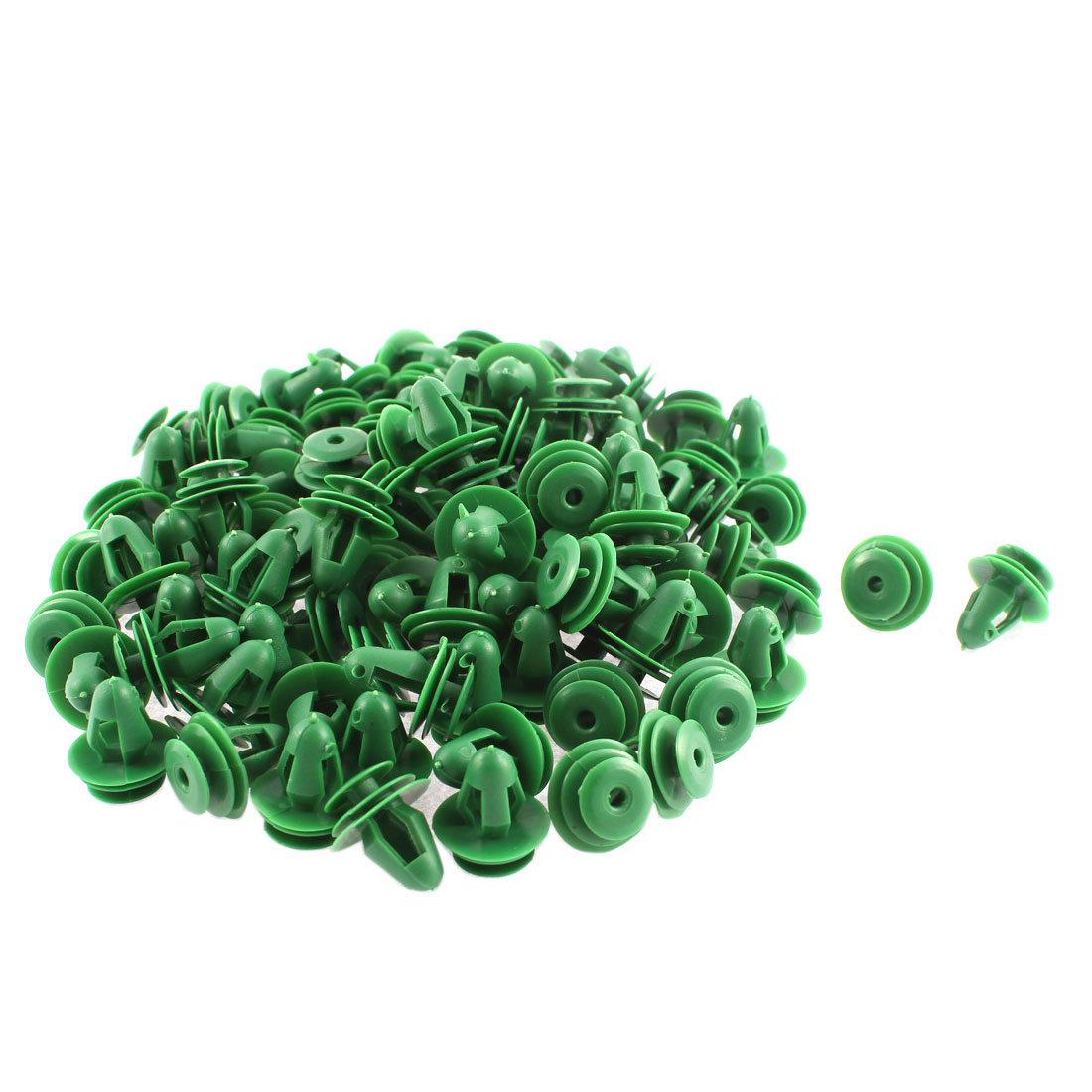 Unique Bargains 100 Pcs Green Plastic Door Trim Interior Weatherstrip Mat Rivet
