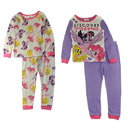 My Little Pony The Movie Girls 4-Piece Cotton Pajama Set, 4](My Little Pony Pajamas Adults)