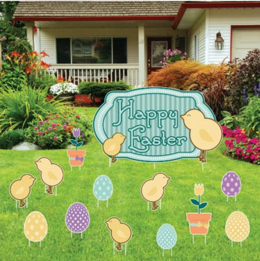 Easter Yard Decoration Happy Easter Chicks with Easter Eggs and Flowers (set of... by Victory Store