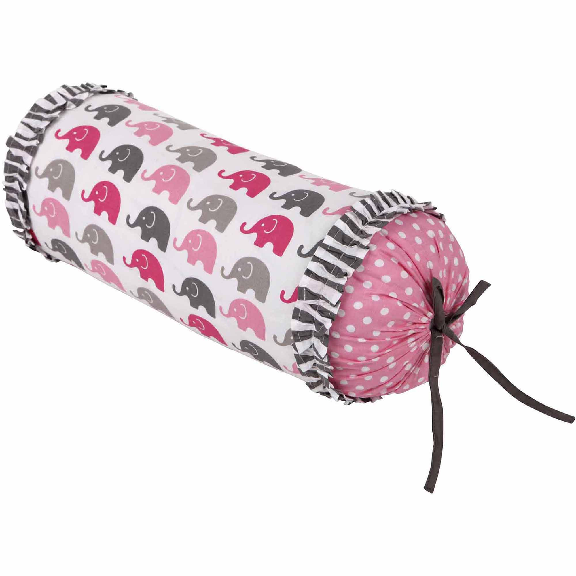 Bacati Elephants Neckroll with 100% Cotton cover and polyfilled insert Pillow, Pk/Gray
