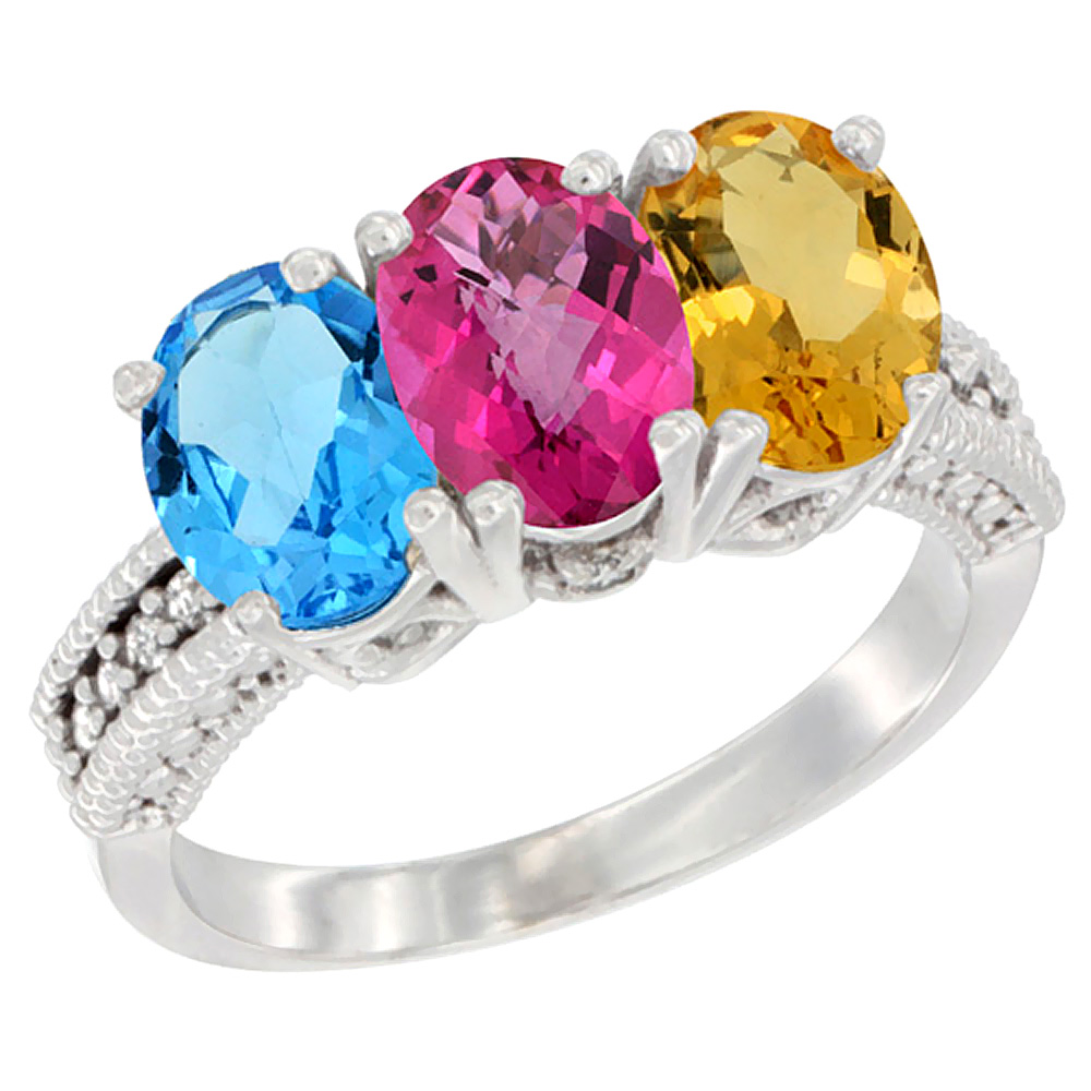 10K White Gold Natural Swiss Blue Topaz, Pink Topaz & Citrine Ring 3-Stone Oval 7x5 mm Diamond Accent, sizes 5 10 by WorldJewels