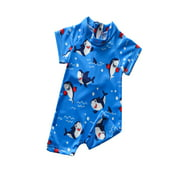Emmababy Baby Boys One-Piece Swimsuit, 3D Cartoon Shark Sun Protection Bathing Suit for Summer